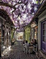 Idyllic street scene in Molyvos, Lesbos Island, Greece..jpg